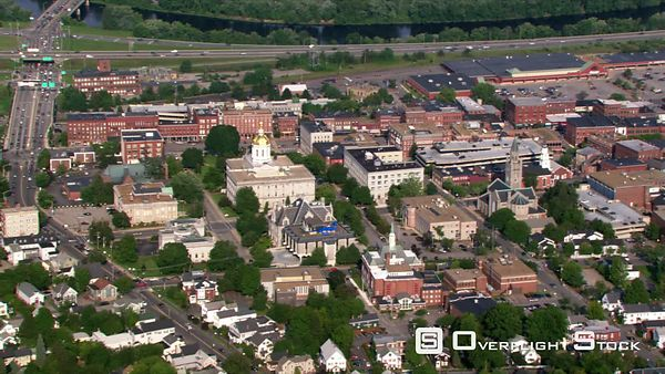 Flight over Concord, New Hampshire, near Capitol building.