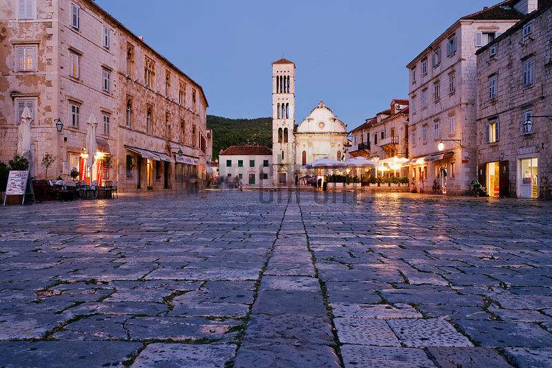 The Main Square and the Cathedral at Dusk, Hvar Town, Hvar Island, Croatia