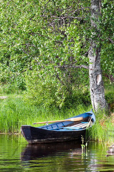 Old Rowing Boat on the shore of the River Oulujoki