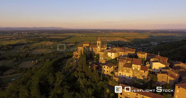 Aerial footage, Capannori in Tuscany, Italy on sunset 4K