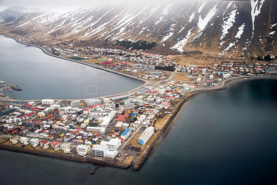 Aerial view of Isafjordur, Westfjords, Iceland. April