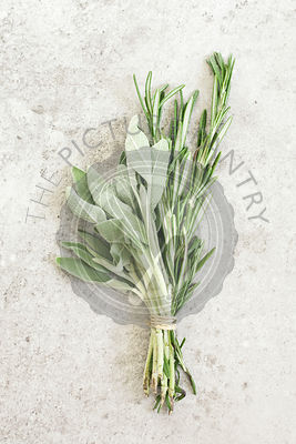 Bunch of sage and rosemary on grey stone