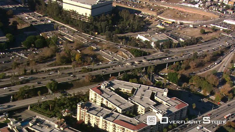 Orbiting freeway interchange near Los Angeles.