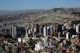 View of high rise buildings in Sopocachi district from Killi Killi viewpoint, La Paz , Bolivia