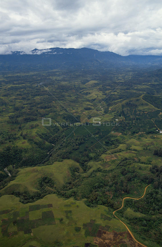 Aerial view of Highland gardens and farmland, Irian Jaya / West Papua, Papua New Guinea 1991