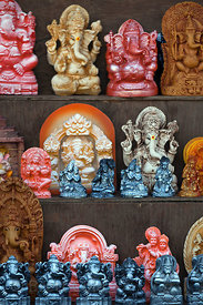 Ganesh idols for sale during the Ganesh Chaturthi festival, Lalbaug, Mumbai, India.