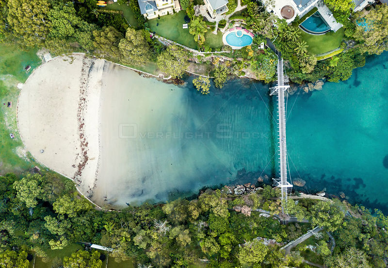 Parsley Bay beach and park with its pedestrian bridge on Sydney's south head. NSW Australia