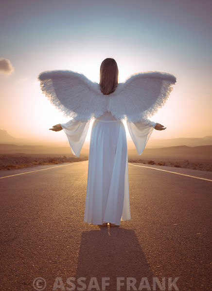 Angel on road