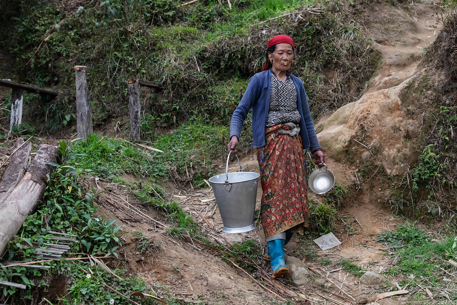 Portrait of Rash Maya Limboo (67) Carrying a Milk Pail
