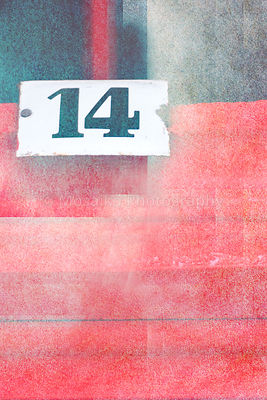 old fashioned number fourteen on textured abstract background - earthy colors - graphic design