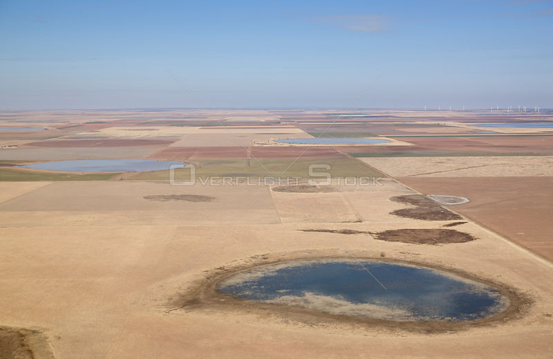 Aerial view of temporary lakes (playas) in monoculture crop fields, high plains of Texas, USA