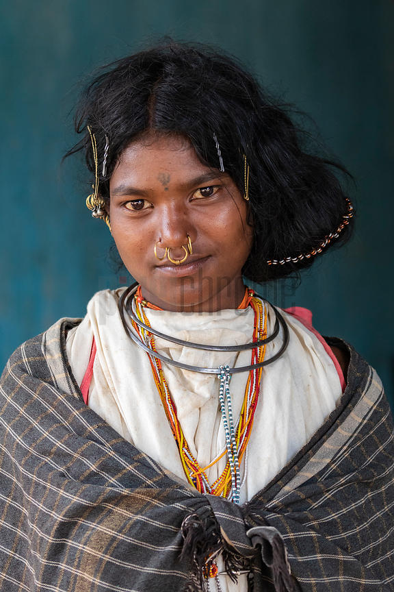 Portrait of a Young Woman from the Dongria Kondh Hill Tribe
