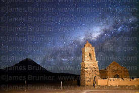 Ruined church at Huacolle, Milky Way Galactic Centre and Sajama volcano, Sajama National Park, Bolivia