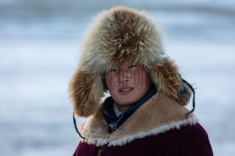 Portrait of a Mongolian Child on the Migration Route.