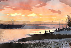Viewing the sunset at 25 de Abril Bridge, Lisbon, Portugal