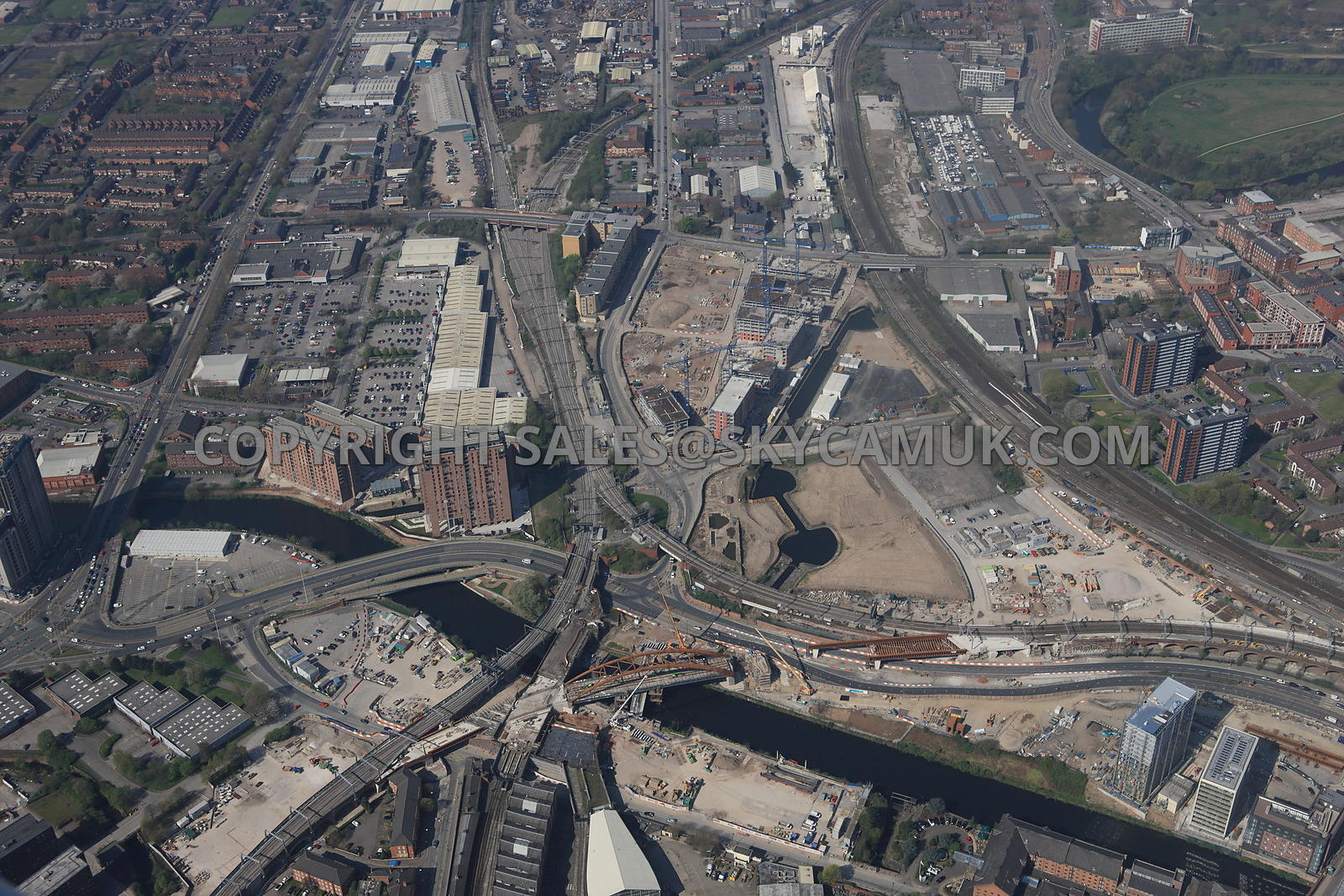 Manchester Western Gateway crossing point of the river Irwell and the new Ordsall Chord Rail Link and the new developments ta...