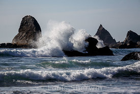 Waves crash over seastacks in Redwood NP