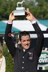 Jonathan Paget with his second place trophy, Burghley Horse Trials 2014.