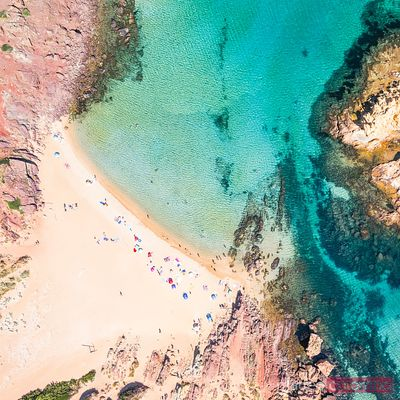 Aerial view of Cala Pregonda beach in summer