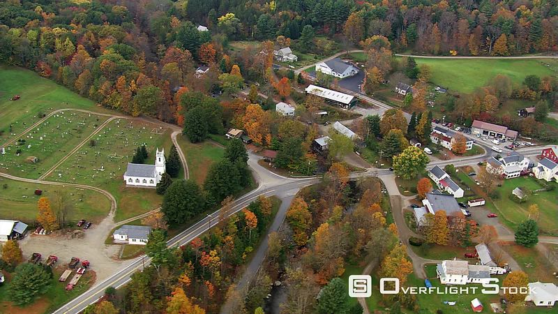 Flying over Massachusetts village
