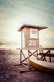 Newport Beach Lifeguard Tower 20 Vintage Picture