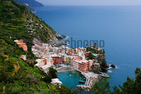 Italy, Liguria, Vernazza, view from Cinque Terre Trail