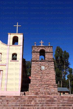 Church towers in Llachon village, Capachica Peninsula, Lake Titicaca, Peru
