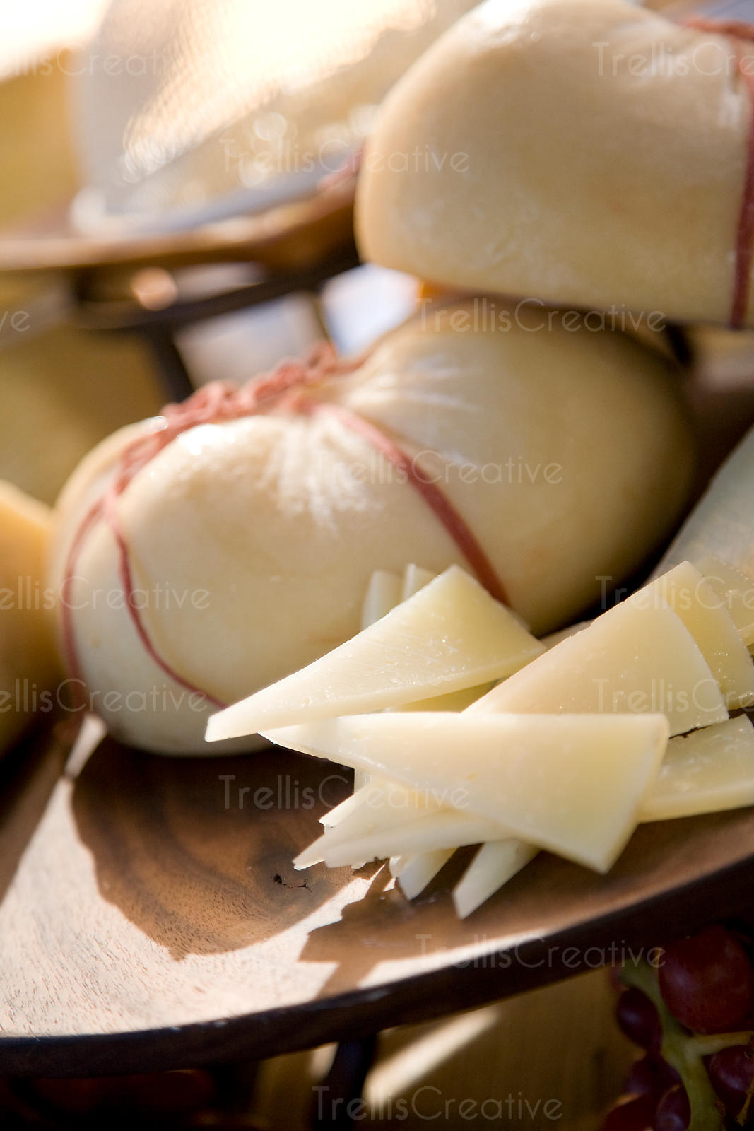 Slices of hand-made cheese ready to be snacked on