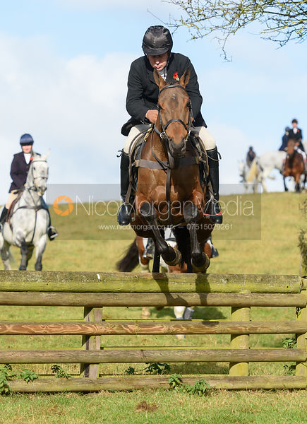 Russell Nearn jumping a hunt jump at Burrough House - The Cottesmore at Somerby 5/11