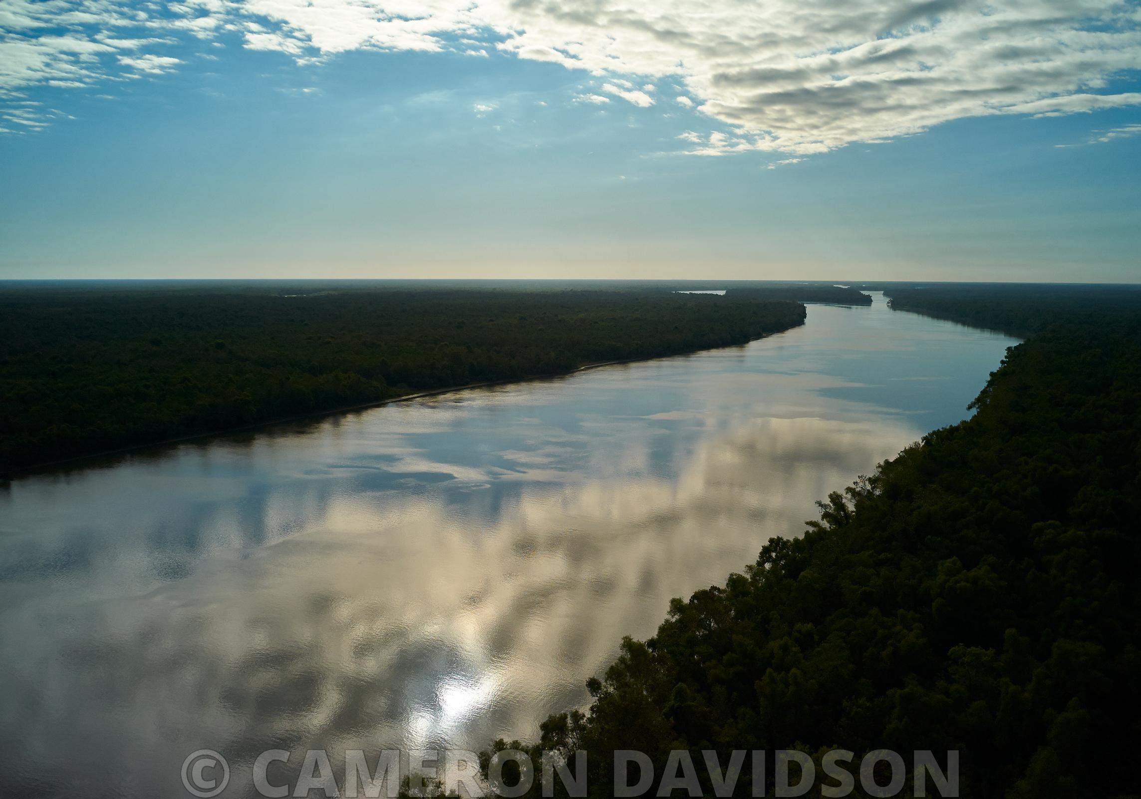 Aerial photograph of Atchafalaya River in Southern Louisiana.