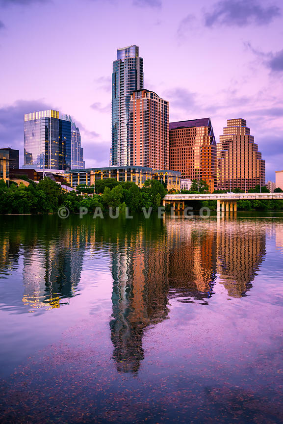 Austin Skyline Reflection at Dusk