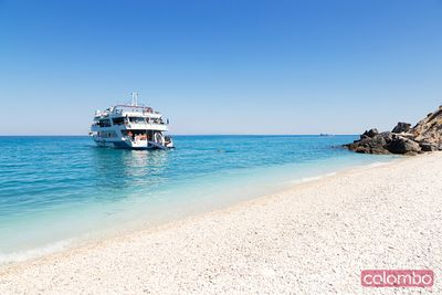 Tourist boat near beach in summer. Zakynthos, Greek Islands, Greece