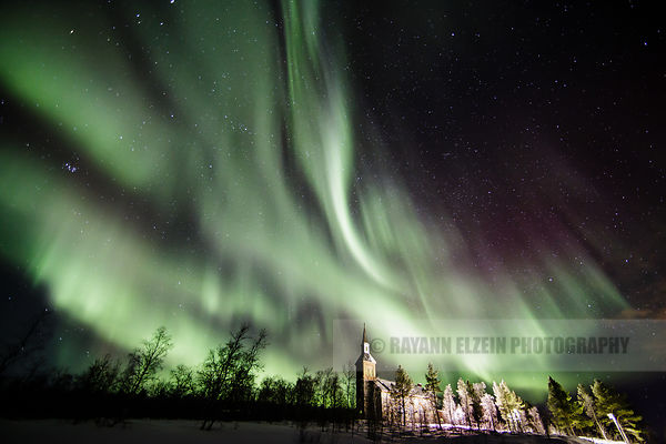 Aurora above the church of Utsjoki