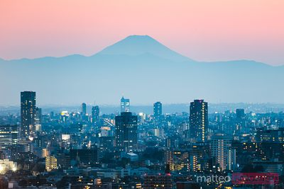 Mt. Fuji and Tokyo downtown at sunset. Japan