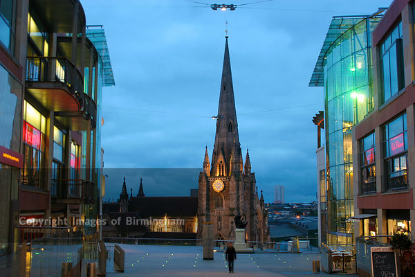 The Bullring Shopping Centre and St Martins Church in Birmigham City Centre