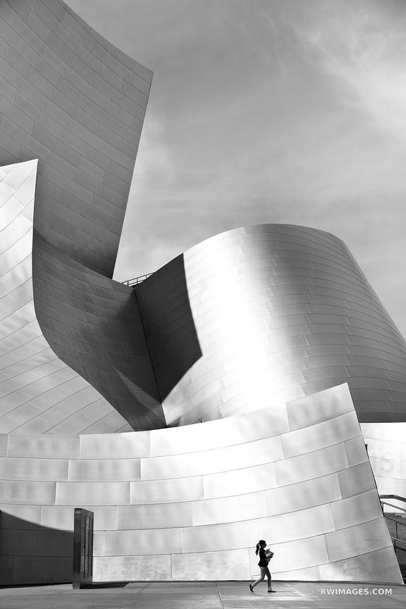 WALT DISNEY CONCERT HALL DOWNTOWN LOS ANGELES CALIFORNIA BLACK AND WHITE VERTICAL