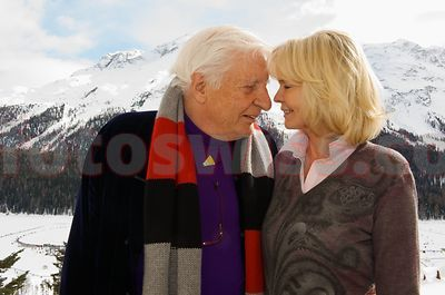 Gunter Sachs and Mirja at Cresta Run SMTC Event in Saint St. Moritz