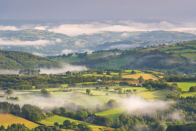 Mist and countryside at dawn, Brecon Beacons, Wales, UK. August 2014.