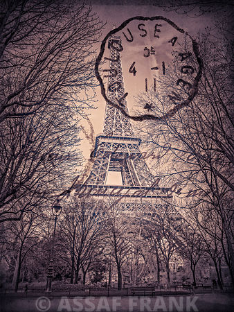 View of the Eiffel tower trough trees, vintage effect