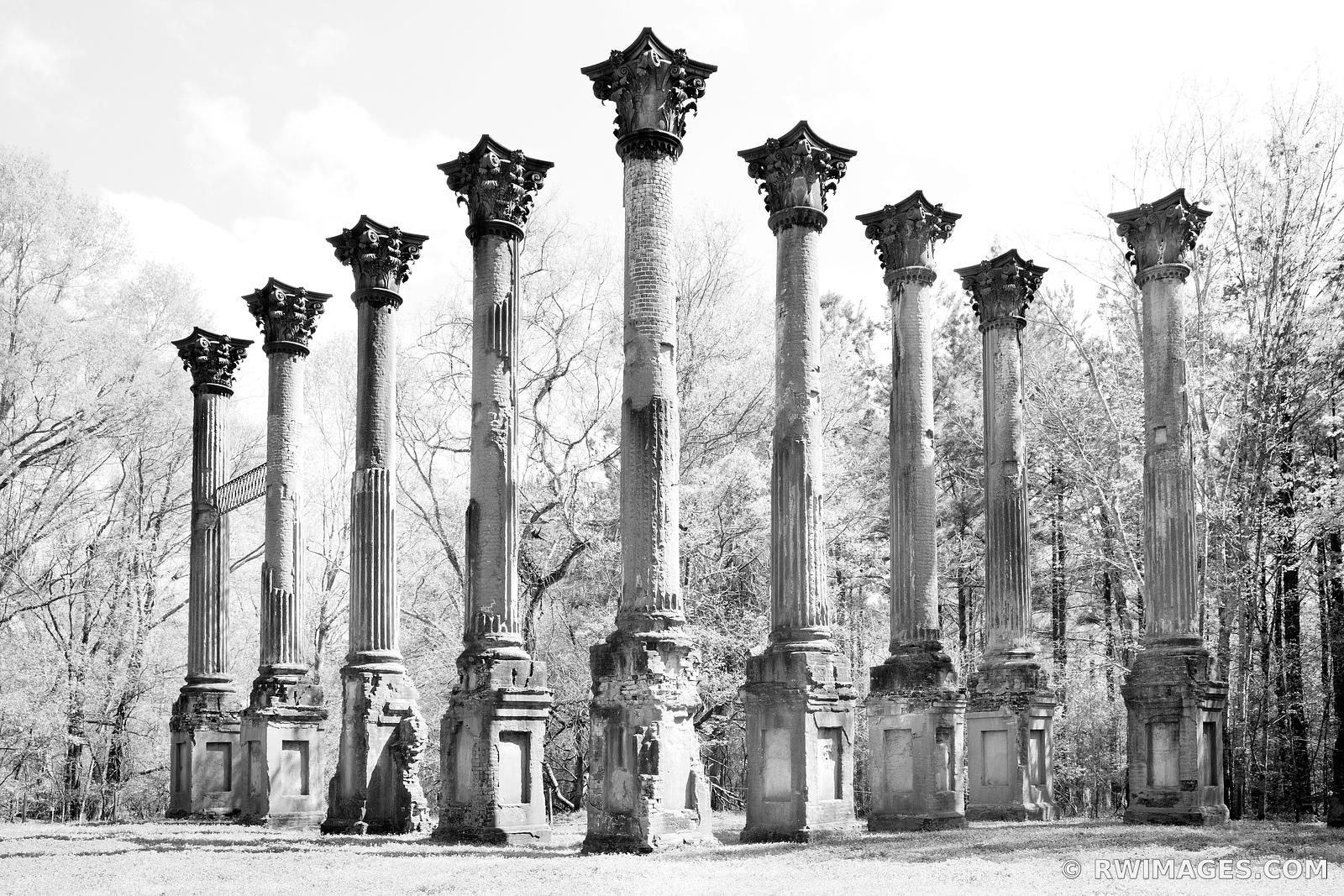 WINDSOR RUINS NATCHEZ TRACE MISSISSIPPI BLACK AND WHITE
