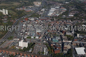 Stockport aerial photograph looking from the west towards Mersey Square and St Peters Square Stockport town centre