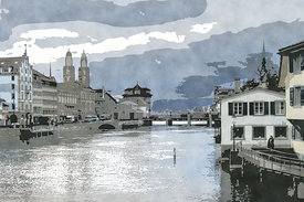 Storm clouds over the Limmat, Zurich