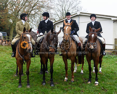 Oliver Greenall, Toby Greenall, Sam Vaughan-Jones At the meet. The visit of the Wynnstay Hounds to the Cottesmore 27/11