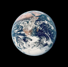 SOL SYSTEM Earth -- 07 Dec 1972 -- This view of the Earth was seen by the NASA Apollo 17 crew as they traveled toward the Moo...