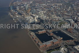 Liverpool high level view of the Albert and Salthouse docks the Pier Head and the three Graces and Princes dockland developme...