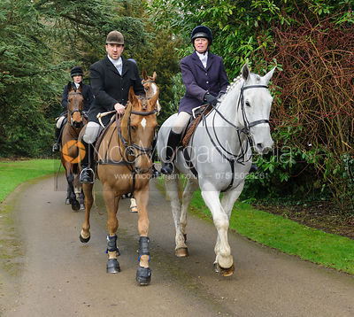 Russell Cripps, Monica Tebbutt-Wheat arriving at the meet - The Cottesmore Hunt at Little Dalby 7/2