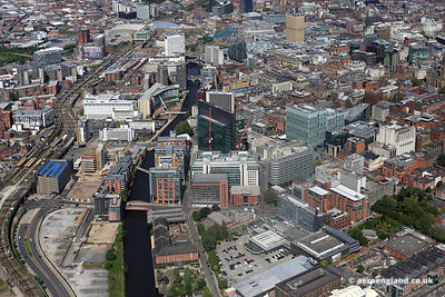 aerial photograph of the River Irwell  Manchester England UK.