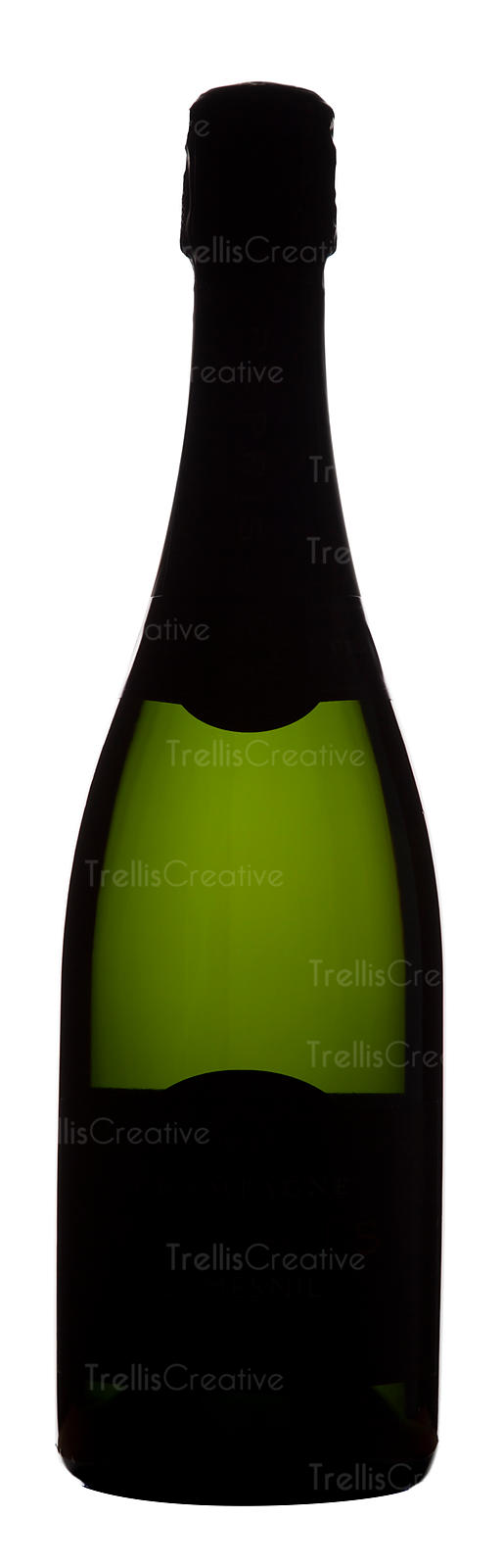 Silhouette of a green glass champagne bottle