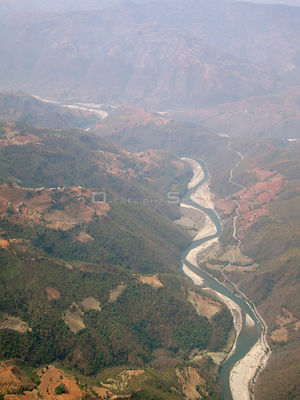 NEPAL Near Ramechhap -- 16 Apr 2005 -- Aerial view of the Tamba Khosi River, a tributary of the Sun Khosi River, one of Nepal...