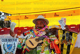 Ricardo Paco (centre, the official ekeko) at the inauguration ceremony for the Alasitas festival, La Paz, Bolivia